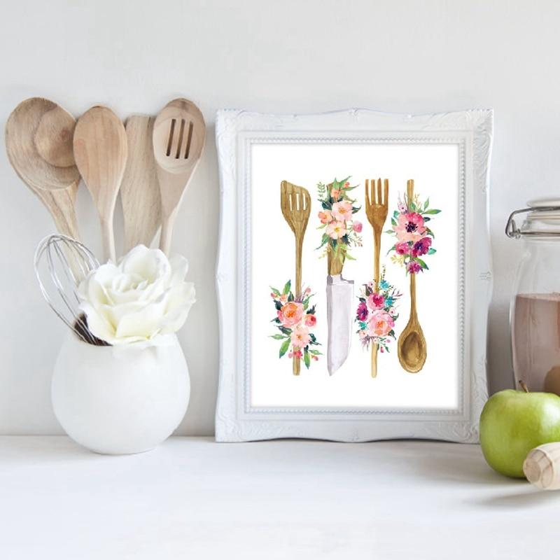 Floral Kitchen Utensil Prints