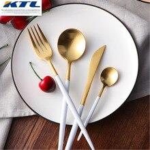 KuBac 24Pcs/set Golden 18/10 Stainless Steel Dinnerware White Handle Silverware Set Fork Knife Scoops Cutlery Set Home Tableware