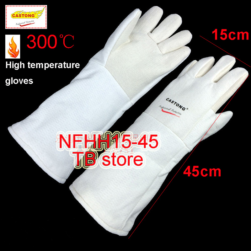 CASTONG 300 degree High temperature gloves 45cm Food grade Material fire gloves oven Bake barbecue Anti-scald safety gloves 1kg food grade deacetylation degree 90