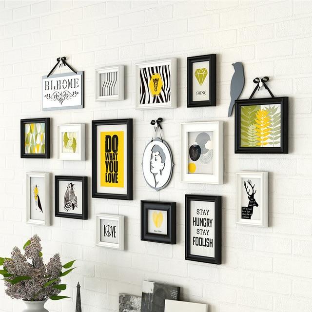 Photo Frames For Home Decor: 14 Pcs/set Sofa Walls Wooden Photo Frames Combination