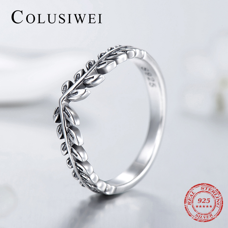 2019 Fashion Female Tree Leaf Finger Rings Fashion Real 925 Sterling Silver Trendy Vintage Wedding Jewelry For Women Silver Ring