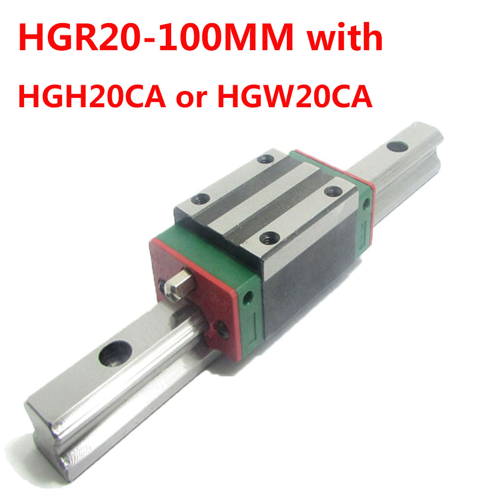 1PC HGR20 Linear Guide Width 20MM Length 100MM with 1PC HGH20CA or HGW20CA Slider for cnc xyz axis large format printer spare parts wit color mutoh lecai locor xenons block slider qeh20ca linear guide slider 1pc