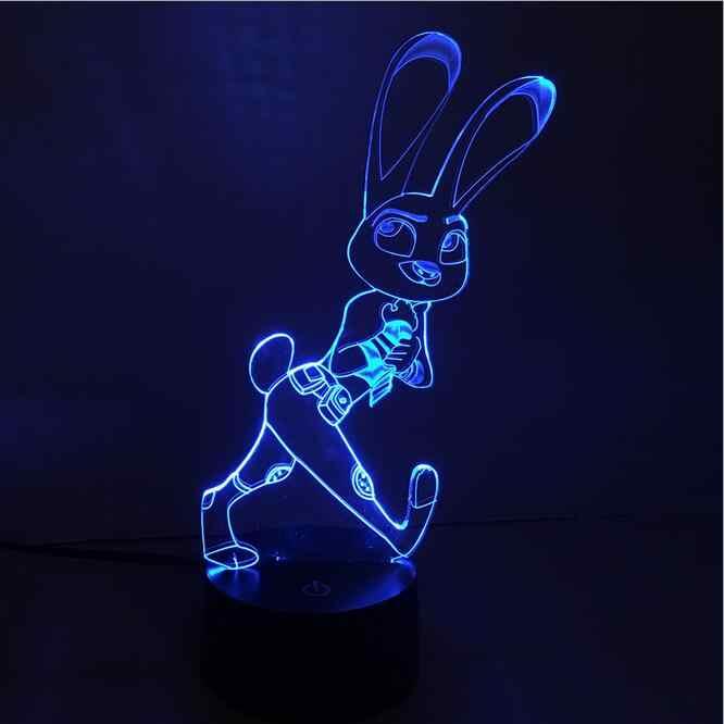 RGB безумный город животных Кролик 3D освещение, свадебные украшения luminaria визуальная Иллюзия светодиодный светильник фигурка игрушка подарок на Новый год