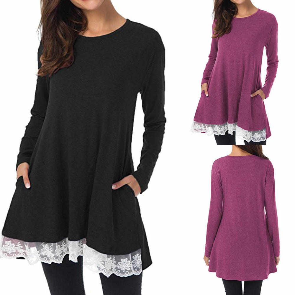 Женская Повседневная Блузка с длинным рукавом и круглым вырезом