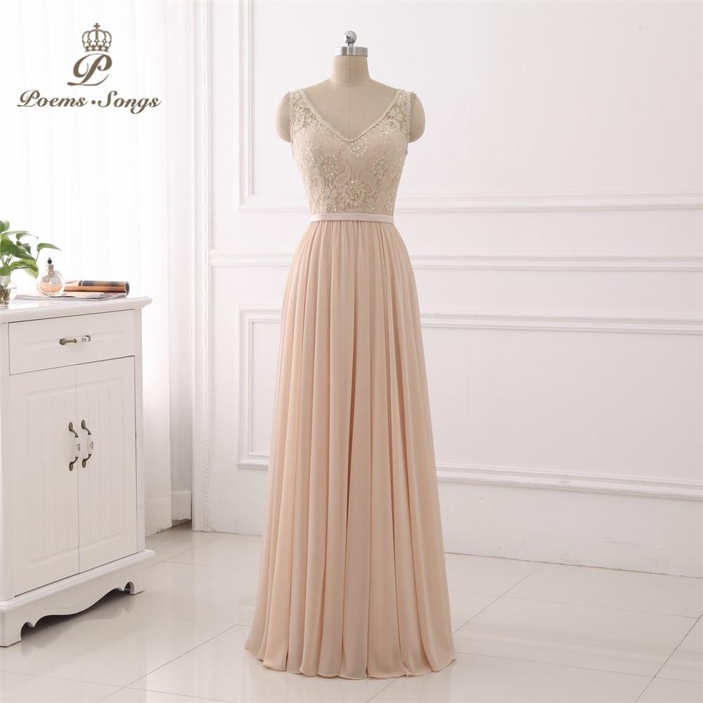 Poems Songs  V-neck Evening Dress vestido novia party elegant Prom dress lace Robe De Soiree