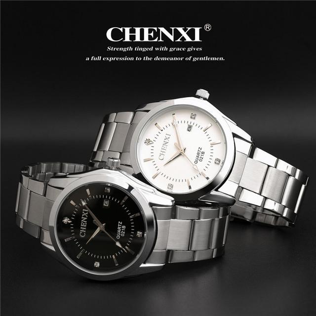 CHENXI marca impermeable relojes mujeres hombres regalos parejas de acero inoxidable calendario Automático relojes CX-021B