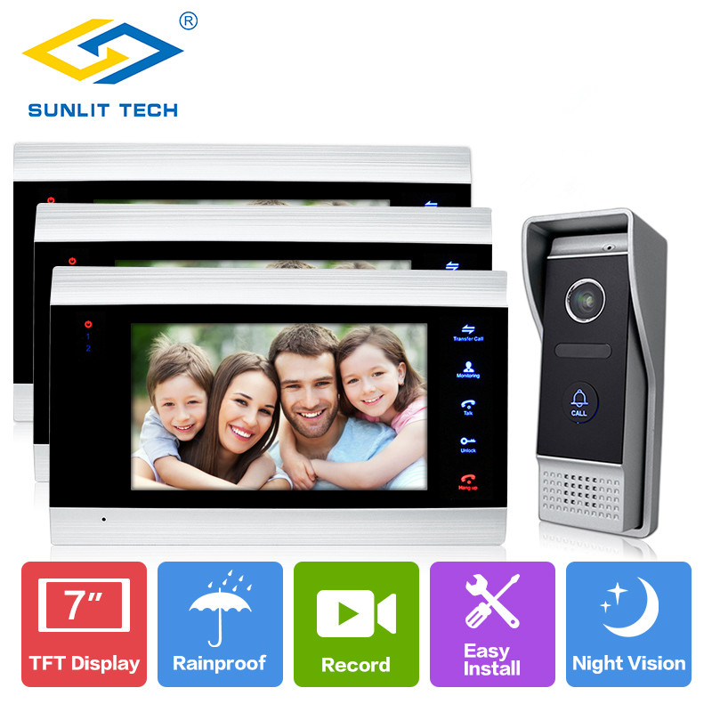 7 Inch Wired Home Video Intercom Door Phone Monitor for House Gate Security Access entry System with 3 Indoor LCD Screen Display homsecur 7 wired video door phone intercom system rfid access with memory monitor for home security