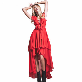Goddess In Rome Dress Chest Cross Lace Ruffle Neckline Summer Dresses Extreme High Low Hem photo shoot