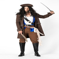 Arrival Men's Pirate Costume Halloween Party Caribbean Cosplay For Carnival Party Corsair&viking Masquerade Pirate Clothes