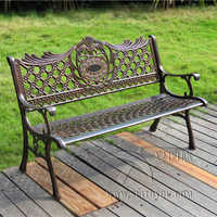 "51"" Patio Garden Bench Park Yard Outdoor Furniture Cast aluminum Frame Porch Chair"