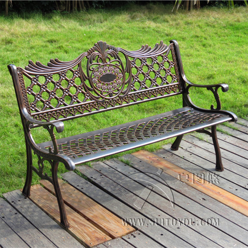 51 patio garden bench park yard outdoor furniture cast aluminum frame porch chair. beautiful ideas. Home Design Ideas