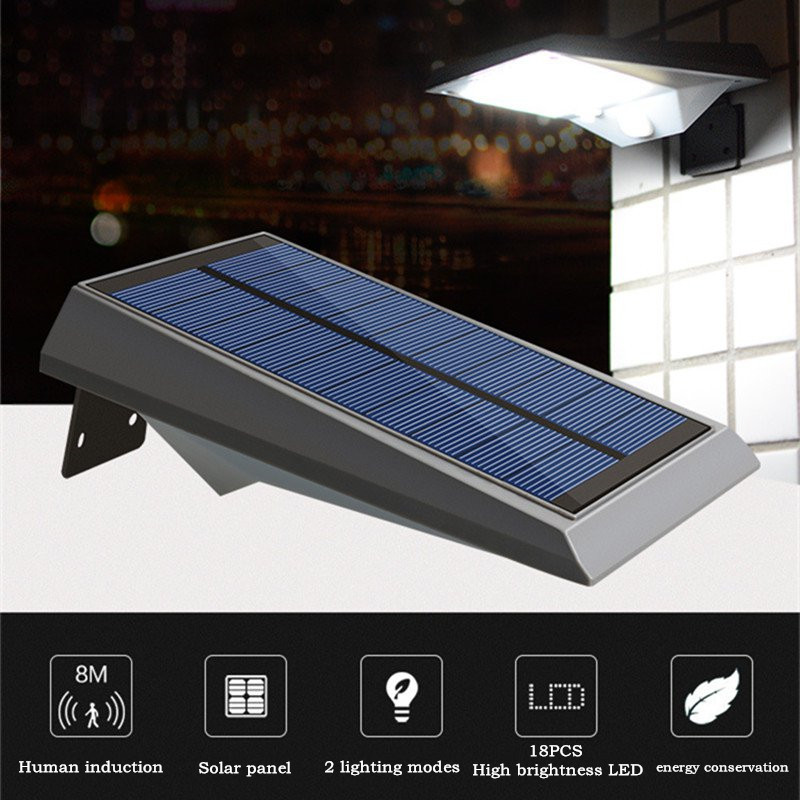 18LED waterproof solar wall lamp super bright outdoor human induction courtyard/lawn/projection/street lamp outdoor light solar lighting led super bright household outdoor waterproof courtyard body induction courtyard body sens lamp