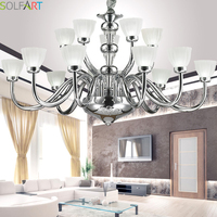 TD8015 Genesis Chrome Leather Lamp Shade Metal Chrome Living Room Dining Room Bedroom Hotel Chandeliers Iron