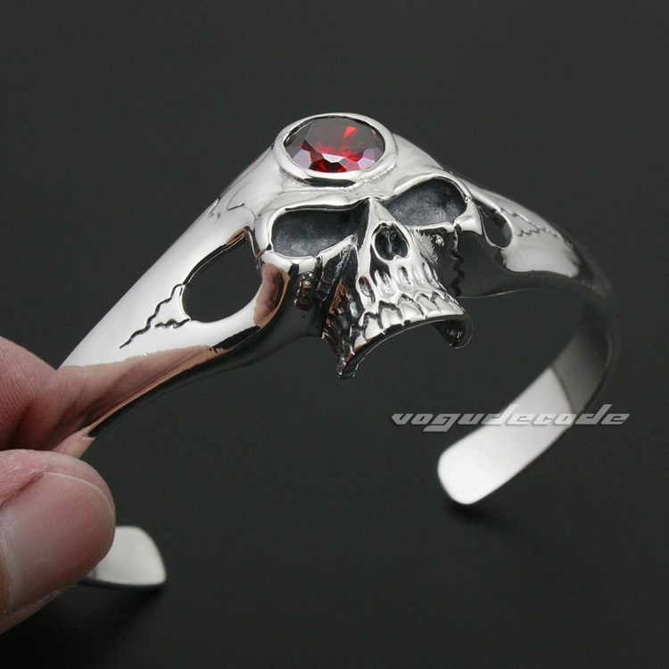 Solid 925 Sterling Silver Red CZ Skull Mens Biker Rokcer Bracelet Bangle 9A005 925 sterling silver cz by the yard anklet bracelet 10
