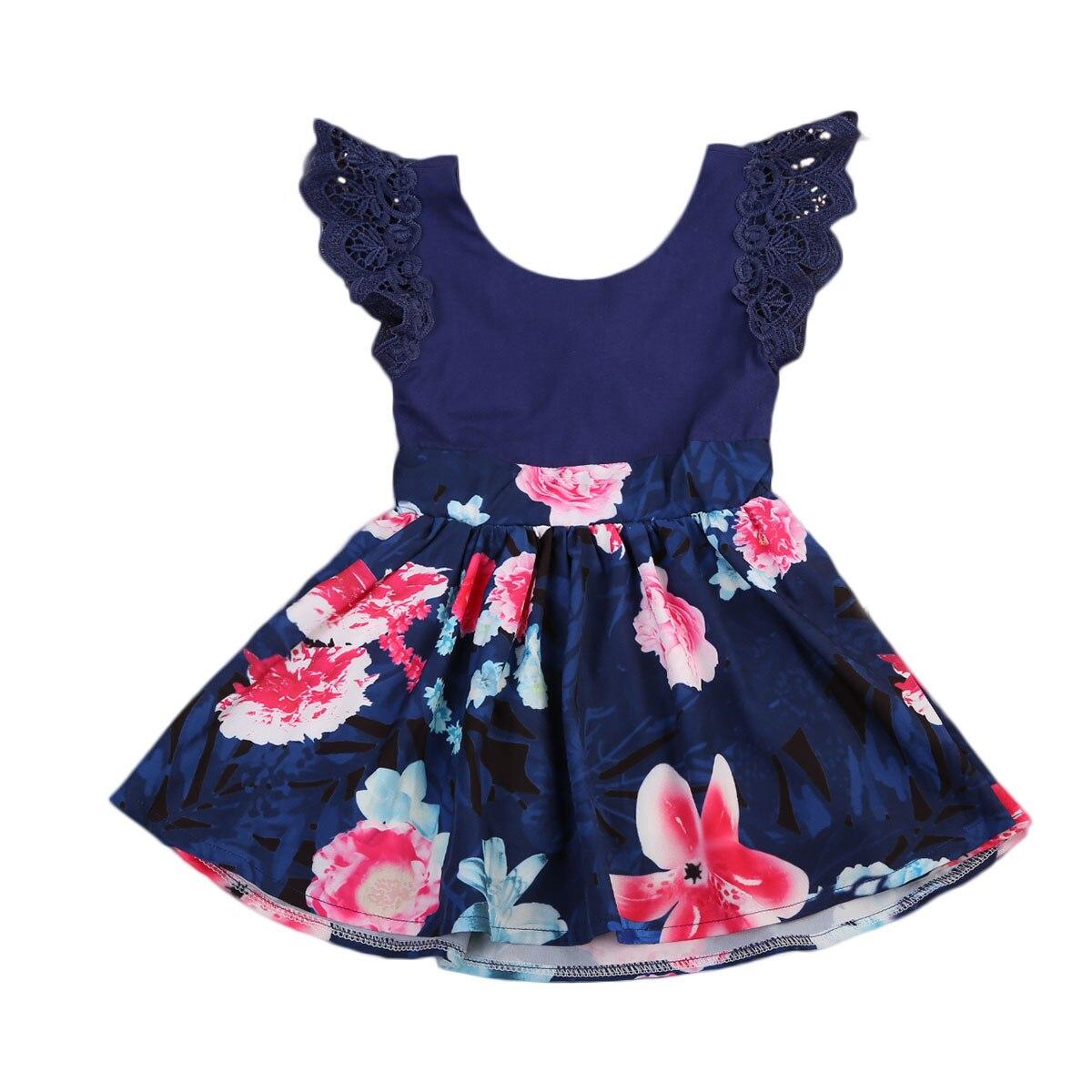 2018 Pop Blau Familie Floral Frauen Mädchen Kinder Kleinkind Sommer Party Passenden Kleid Sommerkleid