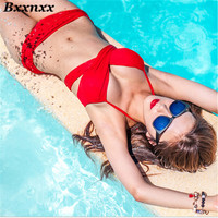 New HOT Fashion Black And Red Color Swimwear Push Up Bikini Set Sexy Bandage Bikini Bathing