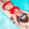 New HOT Fashion Black And Red Color Swimwear Push Up Bikini Set Sexy Bandage Bikini Bathing
