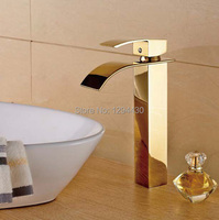 Free shipping Gold plated Solid Brass Gold Faucet Single Hole Waterfall faucet Basin Faucet torneiras para pia de banheiro
