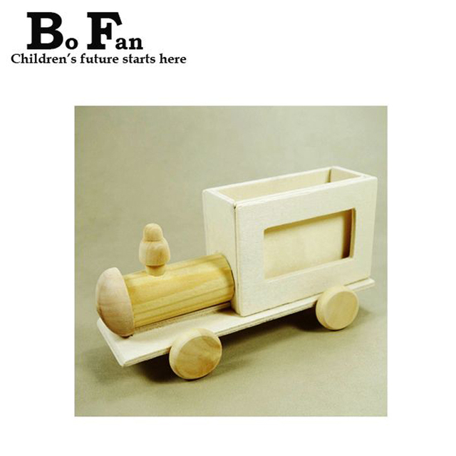 New Childrens Diy Wooden Toy Train Picture Frame With A Brush