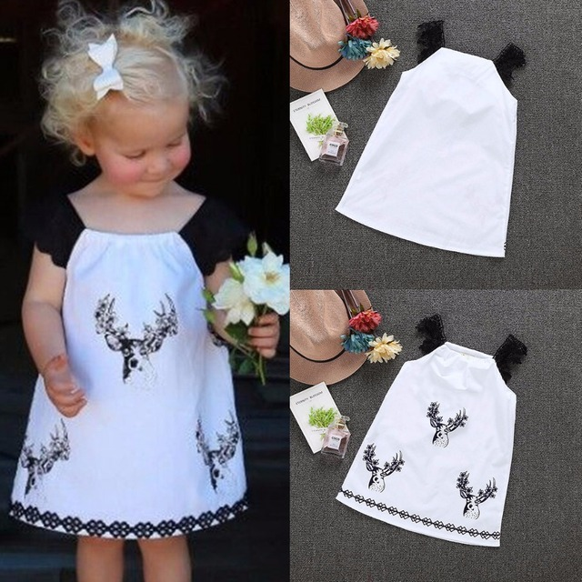 1f9165ff9502 Puseky Cute Toddler Kids Baby Girls Summer Dress Deer Print Casual ...