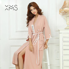 59a3a2d33b XMS Brand Bamboo fiber Women s Stain Robe Bathrobe Men Sleepwear Modern  Style Soft Embroidery Label Nightgown