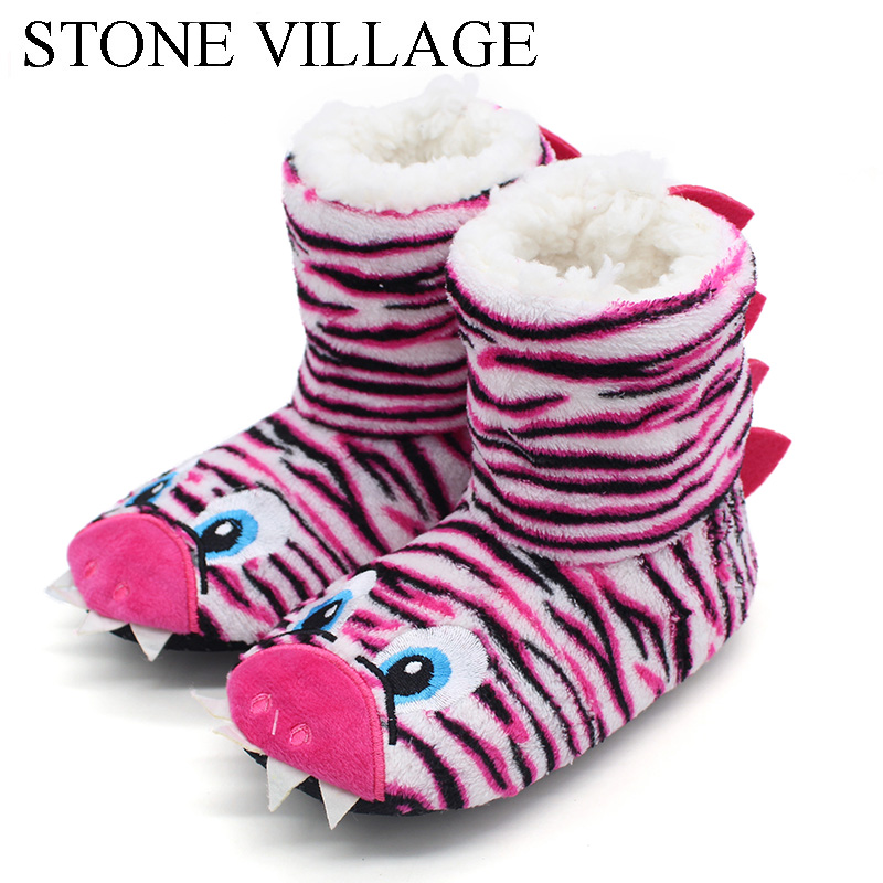 2018 New Girls Boys Slippers Dinosaur Cute Home Slippers Children Warm Soft Plush Children Cartoon Anime Indoor Slippers Shoes