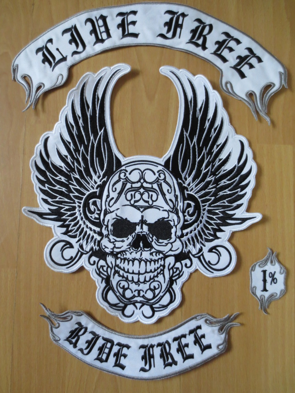 the flying skull Huge Wings large Embroidery Patches for Jacket Motorcycle Biker Ride free