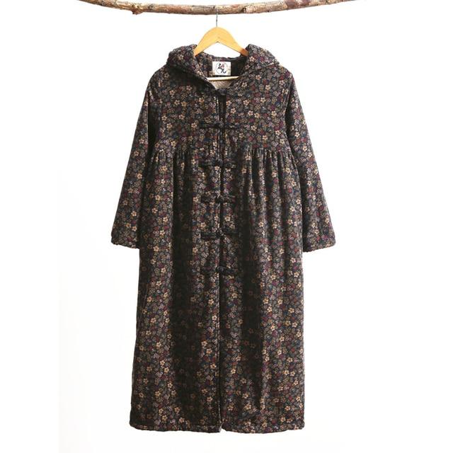 LZJN Fashion Winter Jacket Hooded Chinese Style Brushed Women Coat Mori Girl Wool Outerwear Small Flower Long Jacket Bayan Kaban 10