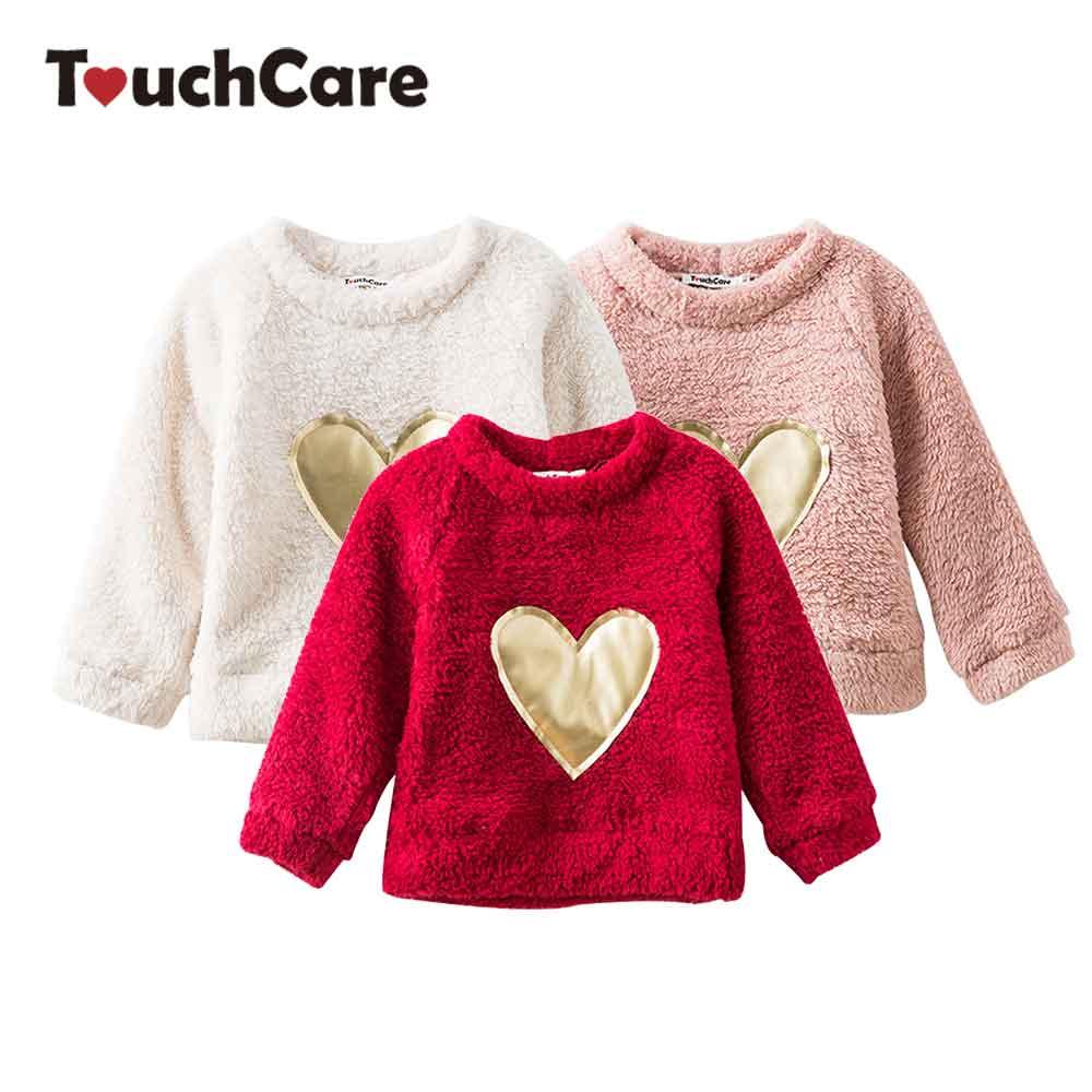 Girl Fleece Sweater Baby Fleeces Sweaters Heart Appliques Girl Blouse Long Sleeve Children T-shirt Spring Top Children's Clothes sweet cape sleeve heart print blouse