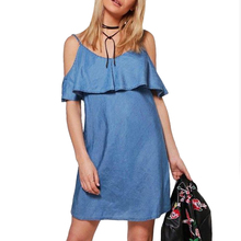 a6bc5db00b 2018 Summer Sexy Ladies Denim Dress Casual Women Sleeveless Mini Dress  Female Ruffles Slim Short Dresses