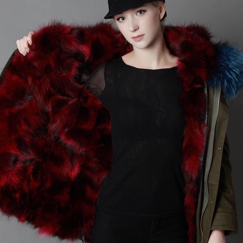 LVCHI 2019 nuovo inverno Femminile Parker Naturale Cappotti di pelliccia di Volpe SHUBA Casual Fox morbido rivestimento Militare di stile genuino Del Collare caldo cappuccio - 5