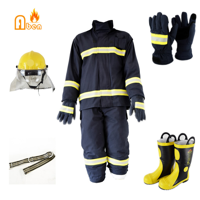 1f144a6fe85e Aramid 4 layer fireproof navy blue fireman rescue anti fire suit with  helmet glvoes boots -in Fire-proof Suit from Security   Protection on  Aliexpress.com ...