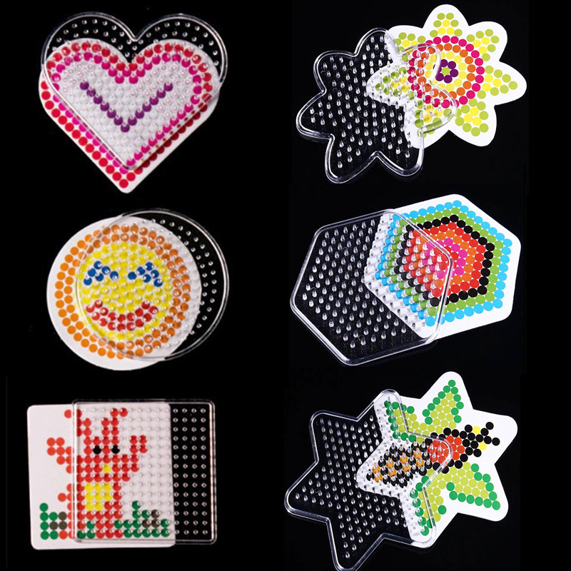 5mm Hama Beads Puzzles For Kids Children Adults Craft Fuse Puzzle Pegboards Patterns DIY Intellectual Toy Template