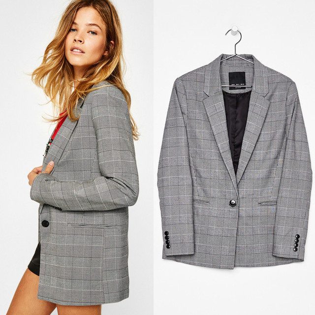 d1b4d00eb3f Women Simple Plaid Jacket Long Sleeves Turn-Down Collar Single Button Slim  Spring Autumn Suit Pattern Coat FS0544
