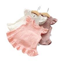 Ruffles Sleeve Lace Flowers Summer Kid Girls Blouses Tops Slub Cotton Casual Baby Girl Shirts for Children Clothing Shirt Dress