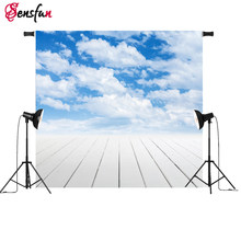 Sensfun Blue Sky Photography Backdrops Beach Resort photo shoot background wooden floor newbrn Photo booth photocall(China)
