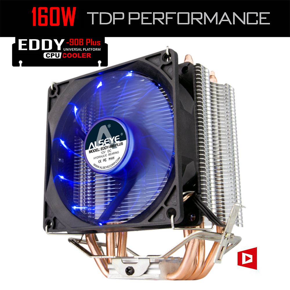 ALSEYE 4 Heatpipes CPU Kühler TDP 160 Watt 90mm LED CPU Lüfter Aluminium-kühlkörper für LGA 775/1150/1151/1155/1156/1366 & FM1/2, AM2 +/3 +