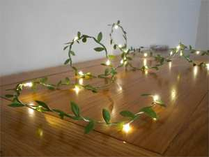 tiny leaves garland fairy wire with mini led string light battery operated indoor