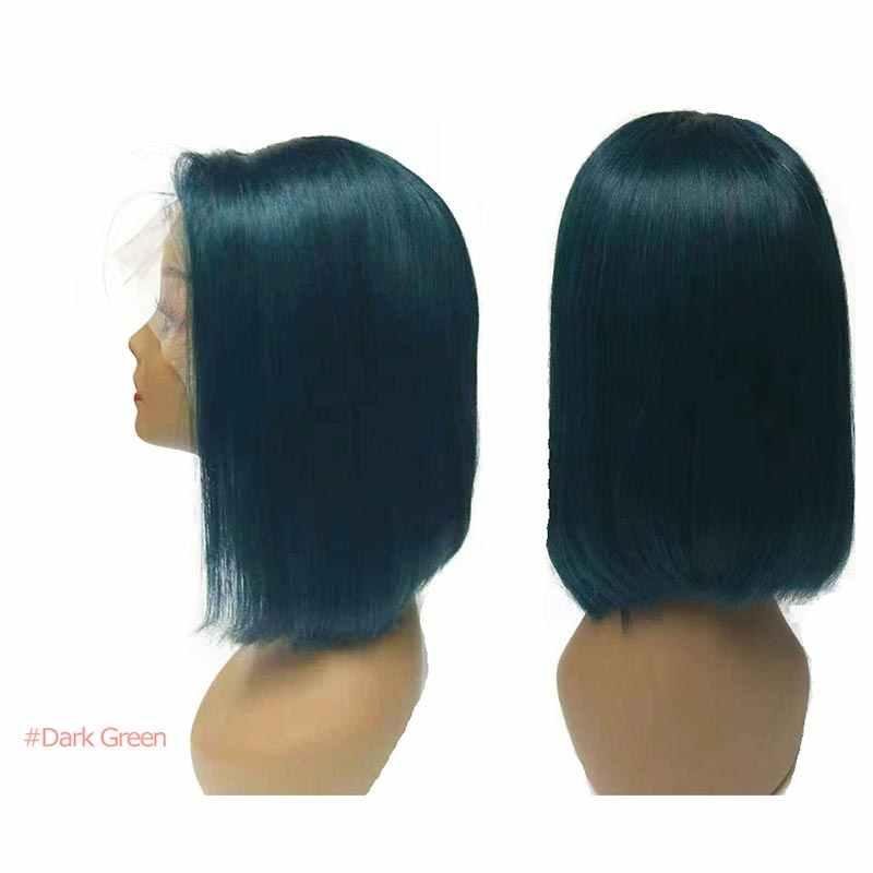 13X4 Короткие парики боб 613/желтый/красный/синий/черный/зеленый/розовый/серый Remy бразильский Омбре парик фронта шнурка Али Fumi queen человеческие волосы парики