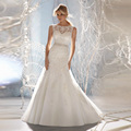 New Design Elegant vestidos de novia Mermaid Sheer Neckline sequins Tulle Lace Wedding Dress 2017 vestido de noiva with the bow