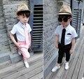 Calor! 2016 juegos de Los Niños del bebé traje traje vestido de traje de camisa corbata + pantalones traje de dos conjuntos de 1-5 años envío gratis 2 color