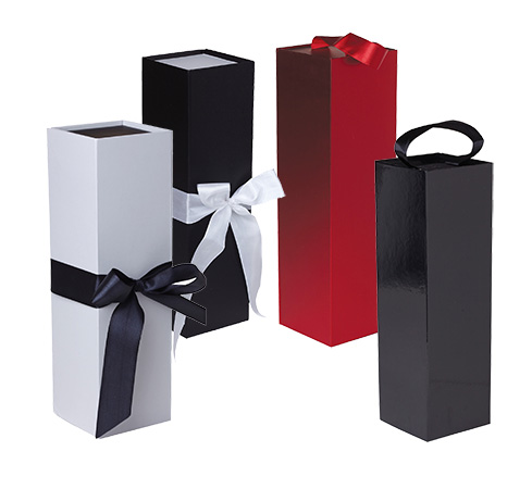 New Product High Fashion Red Wine Paper Folding Square Shaped Wine Bottle Glass Packaging Boxes