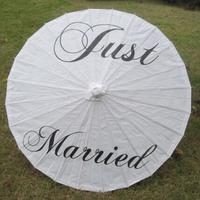 Mr Mrs Just Married Thank You Paper Umbrella Photo Booth Props Bride Groom Rustic Wedding Bridal
