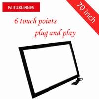 70 дюймов точек касания инфракрасный сенсорный экран наложения комплект Настоящее 6 точек касания usb сенсорный экран панели комплект