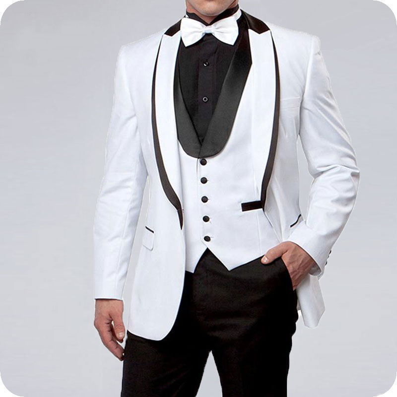 White Men Suits For Wedding Suits Groom Black Lapel Slim Fit Formal Prom Custom Blazer Tuxedo Best Man Terno Masculino 3Pieces