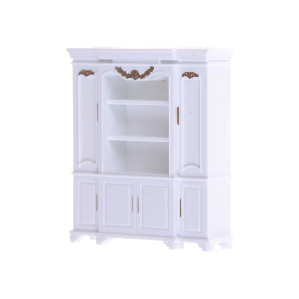 New 51*12*56mm Dollhouse Mini Cabinet Model Kitchen Dining Cabinet Display Shelf White Doll House Decoration Miniature Kitchen