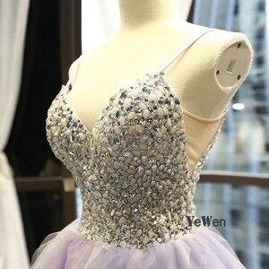 Image 5 - 2020 elegante vestido de noite feminino glitter gem deep v pilha dobre rendas sem mangas spagheti cinta formal festa vestidos de noite