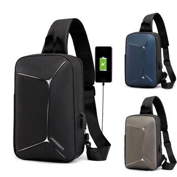 Bolso de hombro para hombre, bolso de hombro con carga USB, bolso cruzado para hombre 66