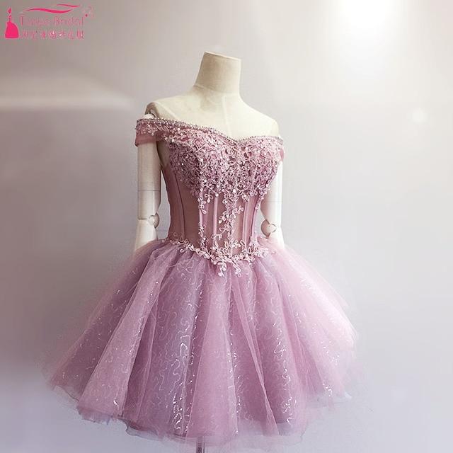 60624eee18 Lujo Bling brillante corto Vestidos de baile hombro Tutu faldas rebordear  fiesta importante Encaje up z1138