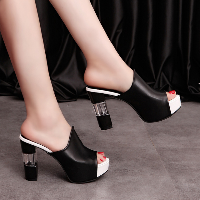 Women Sexy High Heel Mules Clogs Black Peep Toe Platform Mules